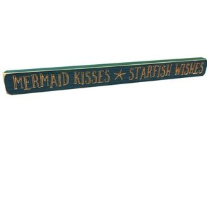 "MERMAID KISSES * STARFISH WISHES 18"" Barnwood Sign"